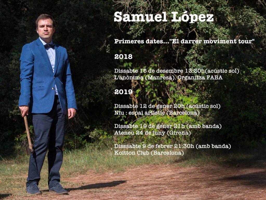 primeres dates dels concerts de Samuel López 2019